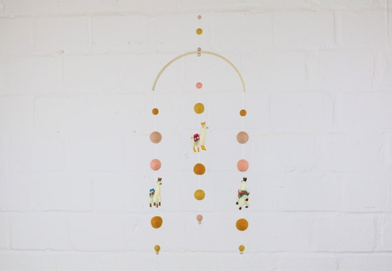 "create your own: Customizable Mobilé ""alpacaliebe"" custom gift for the birth Lama Mobile Baby Mobile hanging crib decoration"