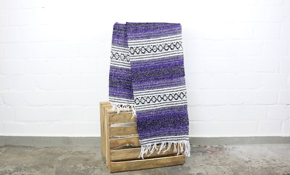 "boho Falsa Decke ""made in Mexico"" Sarape 180 x 70 cm lila"
