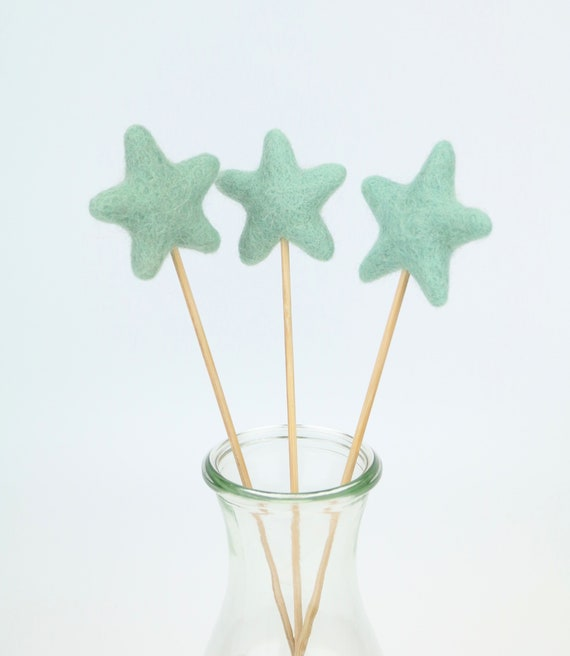 "Felt Star ""Lolli"" Various Colors Beautiful for Home Nursery Pom Pom Colorful Gift Idea Spring Decoration"