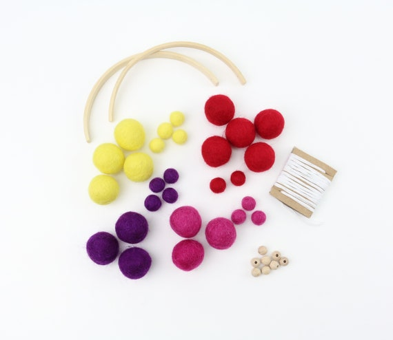 DIY Set Customizable DIY Mobile Colorful Kids Happiness Felt Balls DIY Kit Colorful Baby Gift Custom Gift Craft Set