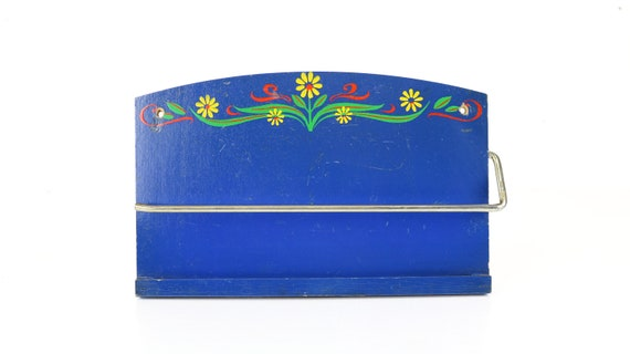 Blue Vintage kitchen roll holder hand painted country house kitchen decoration