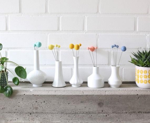 Felt Balls Flowers with Drathstiel Felt Balls 2.5 cm & 1 cm Bouquet Nursery Decoration Pom Poms versch. Colors Felt Balls Decoration colorful