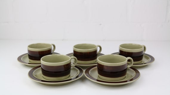 "Vintage Melitta Ceracron ""Helsinki"" Coffeeset 11 pieces Brown beige german retro pottery brown ""but first coffee"" coffe mugs"