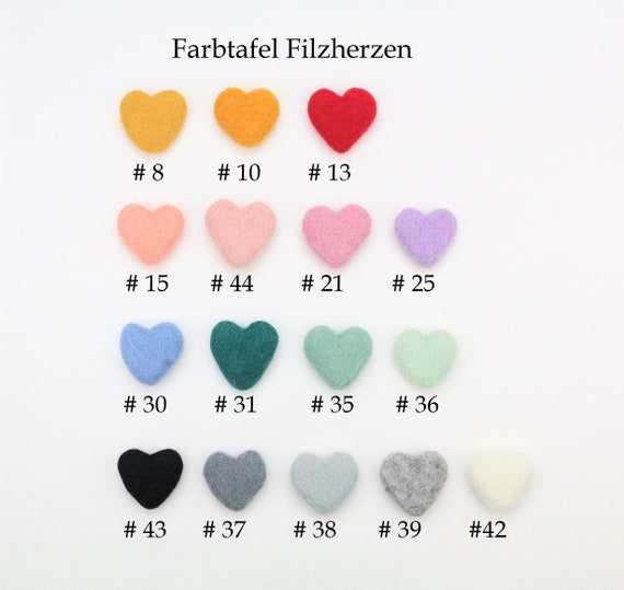 Your own mix felt hearts for crafting decoration hearts felt pom poms versch. Colors felt hearts Garlands Decoration colorful beads