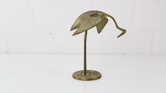 Gilded vintage heron figure mid century modern design antique enamel Heron Figurine