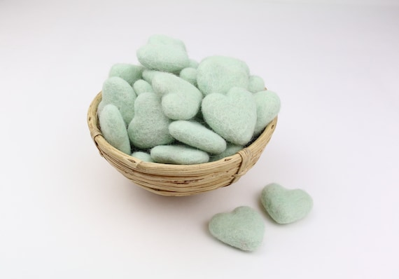 mint hearts made of felt for crafting #36 decoration pom poms versch. Colors Felt Hearts Garlands Decoration Colorful