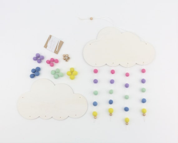 DIY Set Customizable Mobile Cloud wooden & felt balls DIY craft kit colorful baby gift custom gift craft set