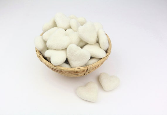cream white hearts made of felt for crafting #41 decoration Pom Poms versch. Colors Felt Hearts Garlands Decoration Colorful