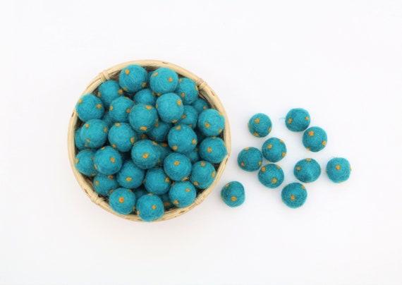 petrol / gold polka dot felt balls for crafting felt balls with dots decoration Pom Poms Felt Balls Garlands Decoration colorful