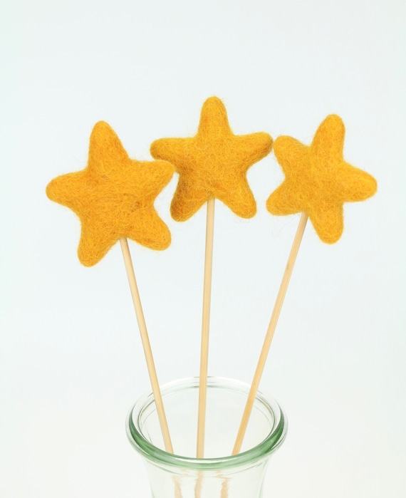 "Felt Star ""Lolli"" Various Colors Beautiful for Home Nursery Pom Pom Colorful"
