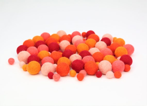 "Felt Balls Color Mix ""orange-red"" - 100 pcs. felt balls 2.5 cm + 1 cm colormix colorful decoration Pom Poms Colors Mix Garlands Decoration"