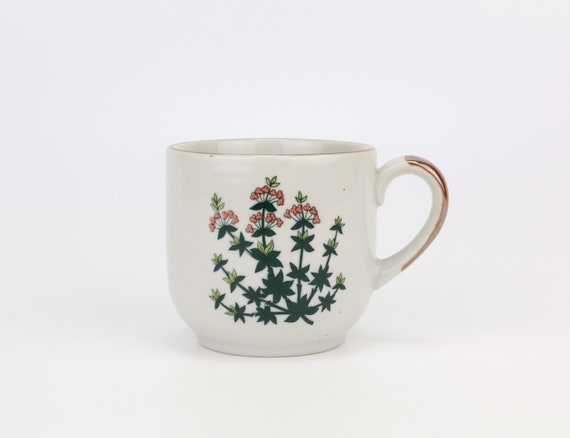 large cup coffee cup with herbal motif teacup country house kitchen rustic kitchen