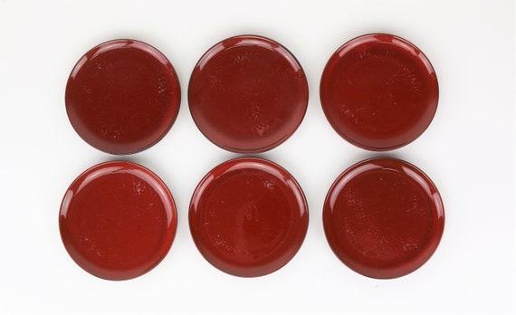 "Set vintage Melitta ""Ceracron"" Plate D 16.5 cm 6 pcs red Melitta coffee West Germany retro pottery red vintage plates seventies Skandi"
