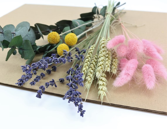 Mix Box Dried Flowers in Mini Waist gift Flowers Dried dried flowers Pink Lagurus Wheat Natural Lavender Craspedia Yellow Eucalyptus