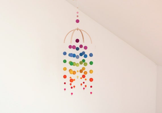 "create your own: customizable mobilé ""Kunterbuntes Kinderglück"" rainbow custom gift for birth rainbow"