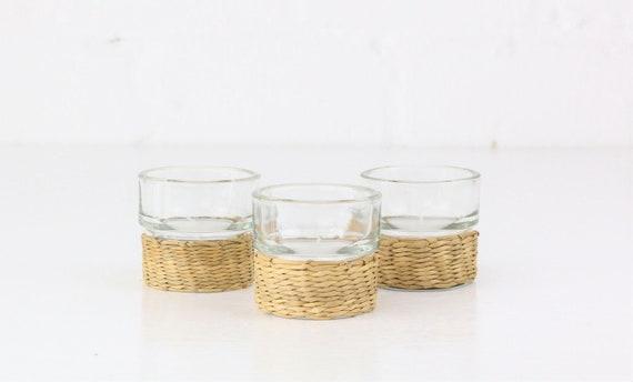 3 Vintage candle glasses with basket braid rats Midcentury modern design vintage urban jungle style candle holders rattan basket