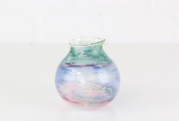 Signed Uta Majmudar Vase glass Studio Glass designer glass hand made dat. 1980 Glass Art Blue