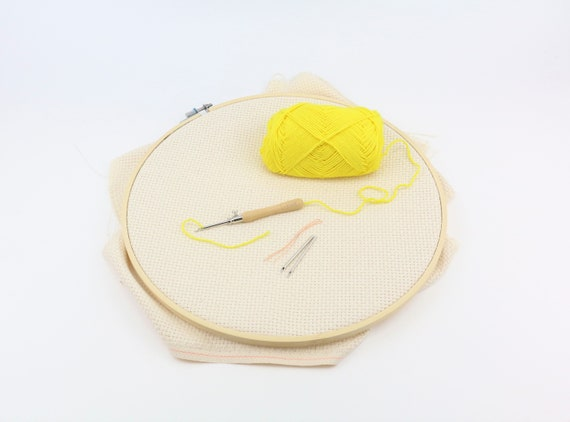 DIY set Punchneedle LAVOR 1 - 4 mm with embroidery frame 30 cm and fabric punching needle for different Yarn thicknesses embroidery rug hooking embroidery
