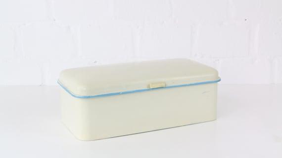 white vintage kitchen enamel bread box with blue embellage country house style Art Deco skandi