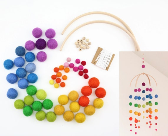 "DIY Set create your own: DIY Mobilé ""Kunterbunte Child Happiness"" many colors available customizable gift for birth"