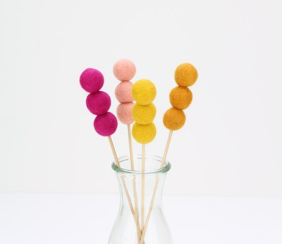 Bouquet of felt balls wool felt balls bouquet nursery decoration pom poms versch. Colors Felt Balls Decoration colorful