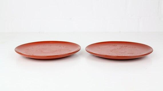 "Set vintage Melitta ""Ceracron"" Plate D 23.5 cm 2 pcs red Melitta coffee West Germany retro pottery red vintage plates seventies Skandi"