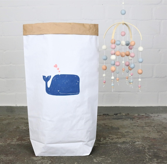 Paper bag paperbag * small whale * whale print