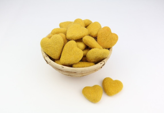 yellow hearts made of felt for crafting #8 decoration Pom Poms versch. Colors Felt Hearts Garlands Decoration Colorful