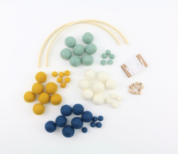 DIY Set Baby Mobile create your own colorful children's happiness felt balls (2.5 cm+1 cm) many colors customizable gift for birth