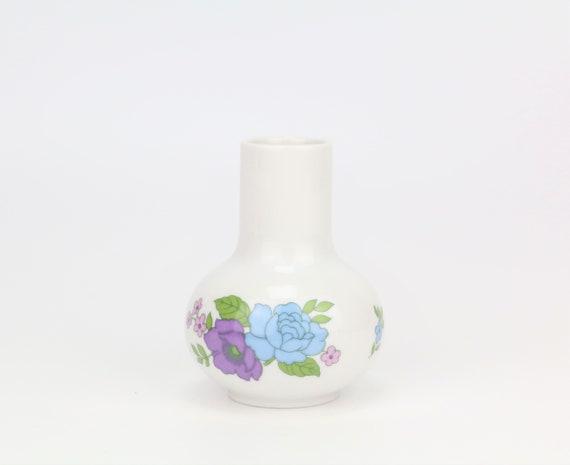 enchanting white vintage porcelain vase with flower motif small flower vase German pottery