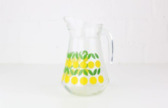 "midcentury Design Glaskrug Karaffe ""squeeze lemons"" mit Zitronenmotiv"