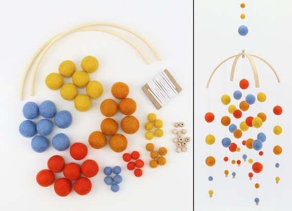 DIY Set Create Your Own Kids Mobile Colorful Kids Happiness Felt Balls Craft Set Many Colors Present Customizable Gift