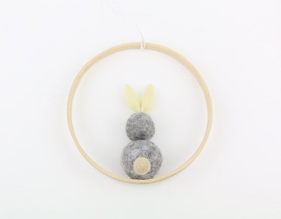 Easter bunny made of felt balls in wooden ring 12 cm Easter decoration door wreath easter decoration Beautiful for home Easter gift idea spring decoration