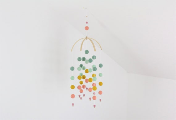 """create your own: Customizable Mobilé """"Kunterbunte Child Happiness"""" colorful baby gift individual gift for birth"""