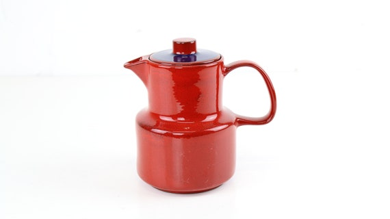 Vintage Melitta Germany décor: Ceracron tea or coffee pot red blue German retro pottery coffee pot skandi design trend color red
