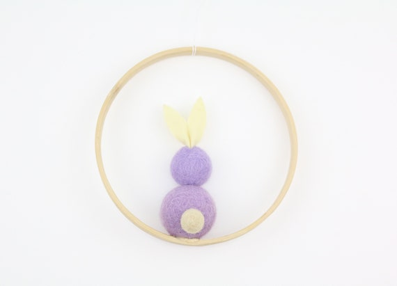 Easter bunny made of felt balls in wooden ring 12 cm Easter decoration door wreath easter decoration Beautiful for home Easter