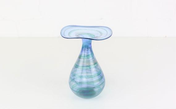 Signed blue vase Schmid glass artist glass designer glass handmade dat. 1993 Glass Art Blue