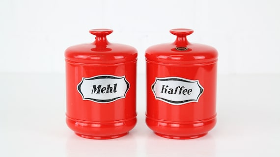 """2 red vintage storage cans from EMSA Germany """"coffee & Flour"""" Set retro container plastic set of 2 vintage food storage container Red"""