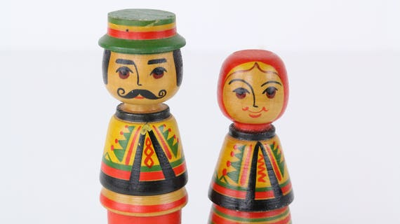 """Vintage wooden Toy """"old couple""""-rare fund vintage toys folklore"""