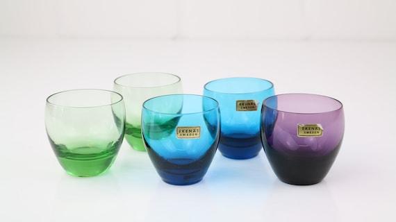Ekenäs Sweden 5 x glasses brandy glasses Midcentury Modern design Likorgläser space age retro antique glass art coloured glass Hyggelig