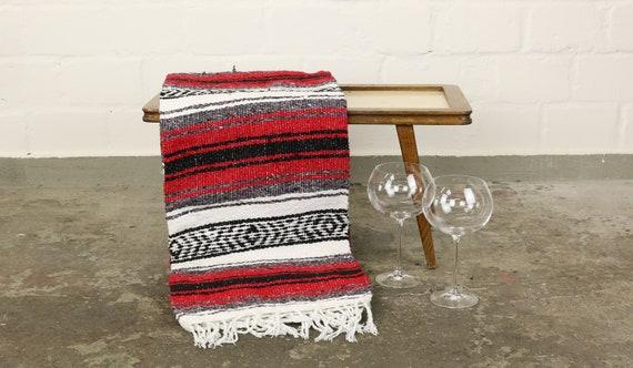 "große gewebte Decke aus Mexiko 180 x 130 cm knallrot ""Falsa"" Hot Rod Harley Stranddecke Jogadecke Picknickdecke Mexican Navajo blanket"