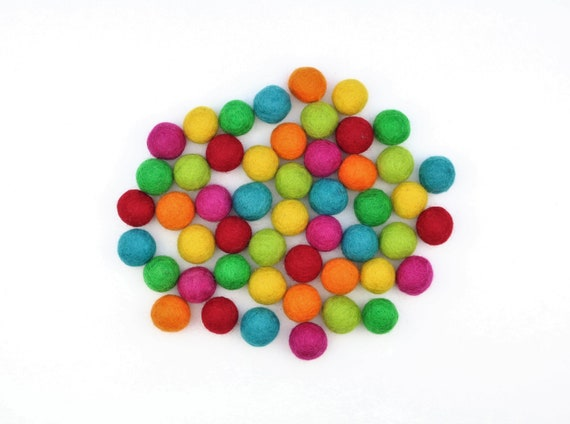 "colorful felt balls color mix ""Kunterbunt"" - 50 o. 100 pcs. felt balls 2 cm colormix decoration pom poms colors Mix Garlands Decoration"