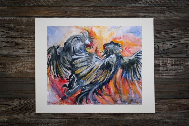 apartment wall decor animal fine art birds cockfights artwork nature wall art Original watercolor hand painting Fighting roosters