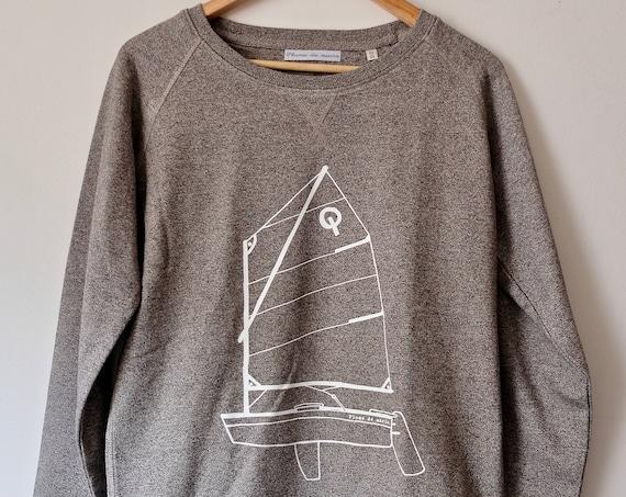 """Sweat - granite - men Illustration """"Optimist"""" """"-organic cotton"""