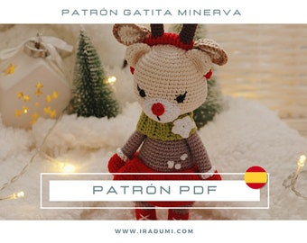 Patrón crochet gato, PDF TUTORIAL ESPAÑOL, patrón gato navidad amigurumi, navidad crochet, juguete crochet gato, muñeco crochet tutorial