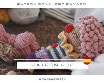 SONAJERO payaso, mordedor, PDF tutorial ESPAÑOL, Patrón de crochet sonajero,  juguete payaso patrón, patrón amigurumi sonajero