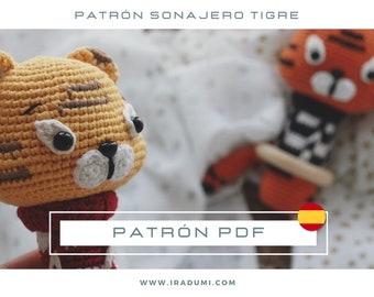 SONAJERO Tigre, mordedor, PDF tutorial ESPAÑOL, Patrón de crochet sonajero,  juguete tigre patrón, patrón amigurumi sonajero