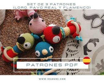SET 3 PATRONES español, Sonajero loro, sonajero flamenco, sonajero pavo real, PDF Patrón Crochet, Amigurumi crochet, Crochet pattern rattle