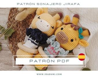 SONAJERO jirafa, mordedor, PDF tutorial ESPAÑOL, Patrón de crochet sonajero, juguete jirafa patrón, patrón amigurumi sonajero