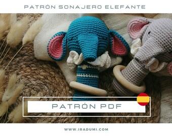 SONAJERO elefante, mordedor, PDF tutorial ESPAÑOL, Patrón de crochet sonajero,  juguete elefante patrón, patrón amigurumi sonajero